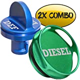 COMBO PACK - Magnetic Diesel Fuel Cap + DEF Cap Accessory for Dodge RAM TRUCK 1500 2500 3500 (2013-2018) with 6.7 CUMMINS EcoDiesel, NEW Easy Grip Design