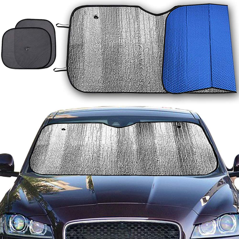 Windshield Sun Shade Visor Size 59 x 31.4 Foldable Car Sunshade Reflect and Protect Your Vehicle from UV Rays Sun and Heat Fits for Cars Trucks SUV