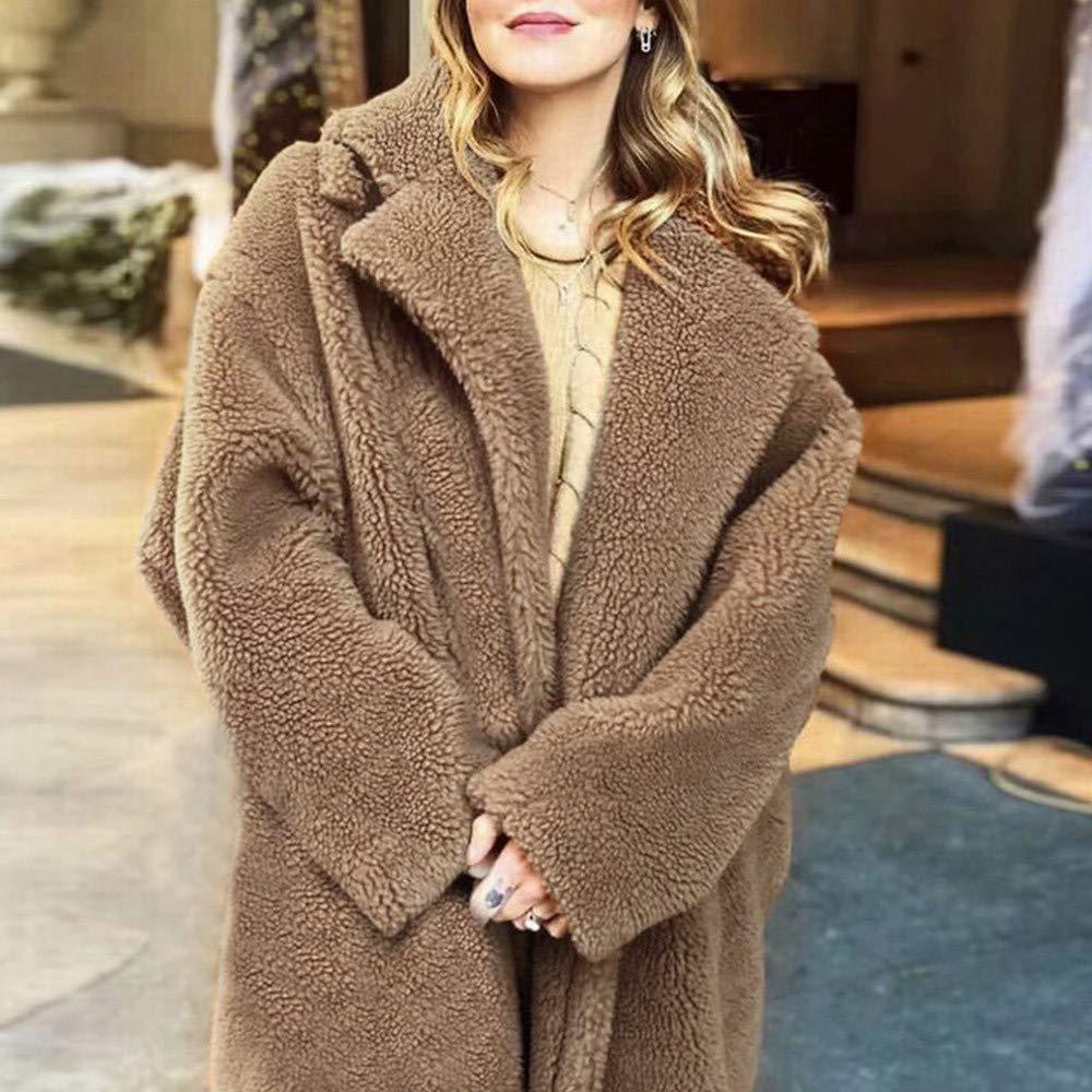 RedBrowm-women Warm Fleece Coat Loose Outwear Thick Jacket Soft Outerwear