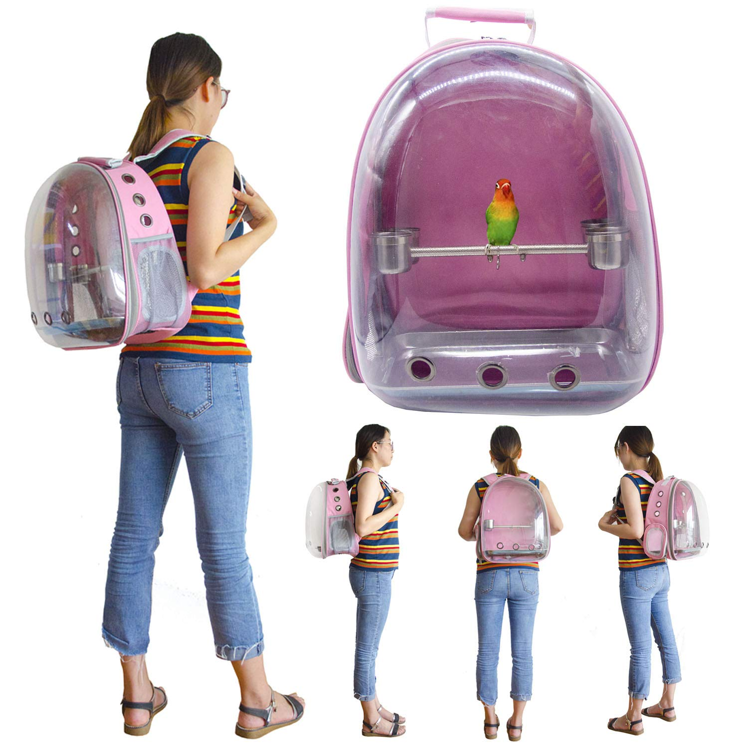 Deloky Parrot Bird Carrier Space Capsule -Transparent Breathable 360° Sightseeing Outdoor Bird Travel Bag, Backpack with Stainless Steel Bird Stand perches by Deloky