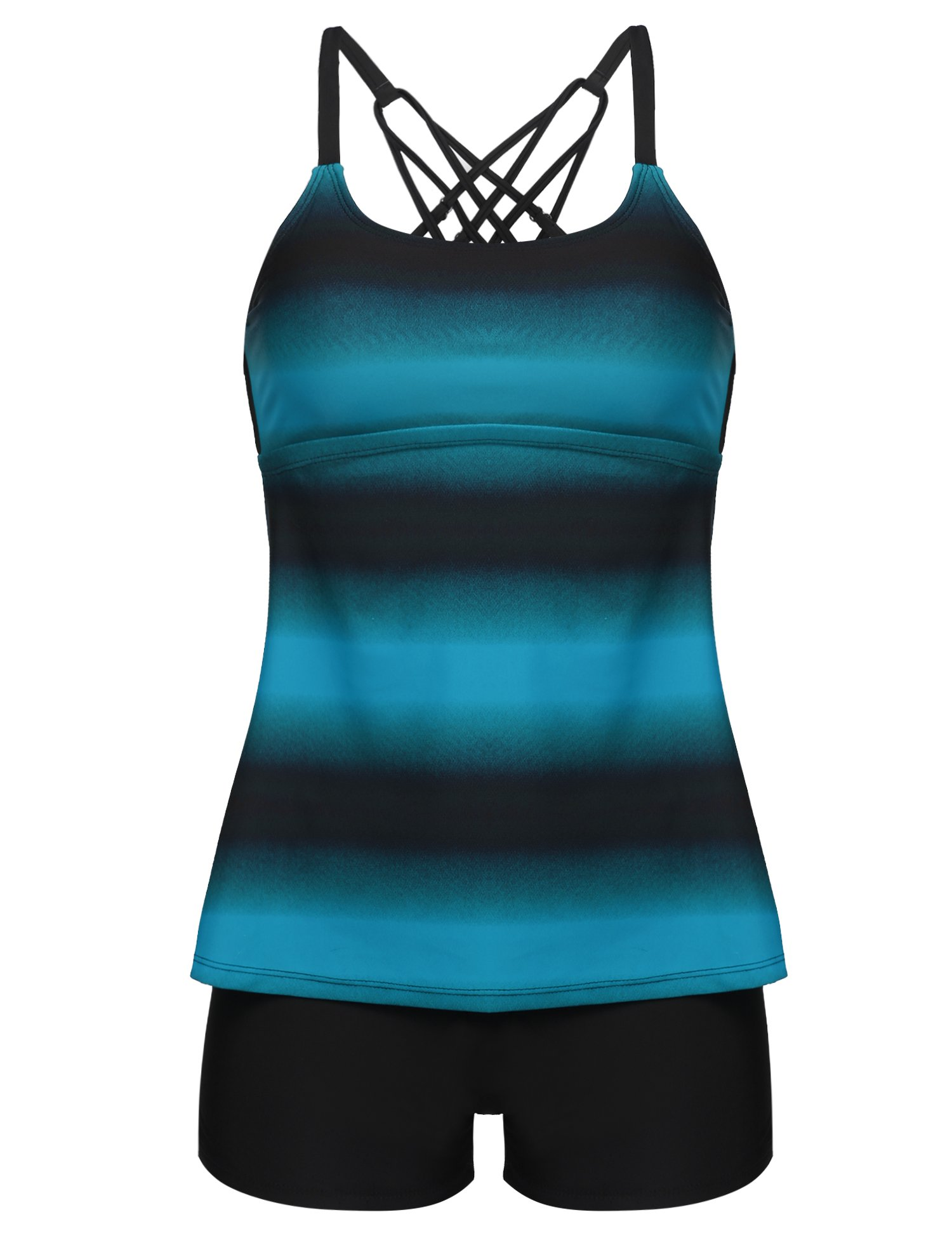 LAZOSAL Womens Swimsuit Criss Cross Tankini Boyshort Color Block Two Piece Bathing Suit S-XXXXL