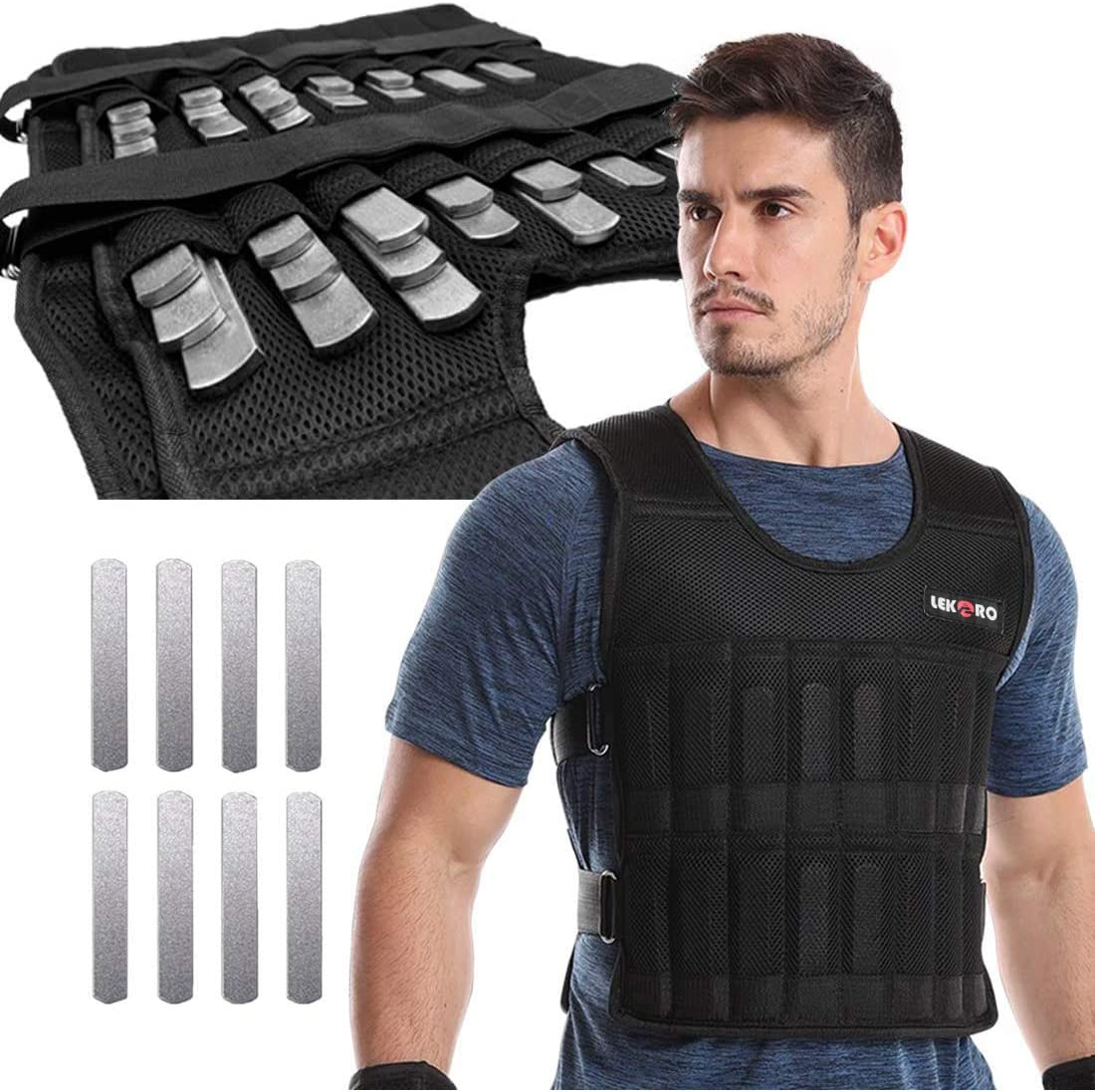 precauti Weighted Vest Adjustable Waistcoat Clothing Breathable Strength Training Jacket for Workout Fitness