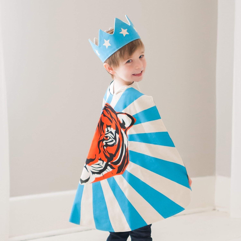 Orange Blue Superhero Tiger Cape for Kids and Toddler