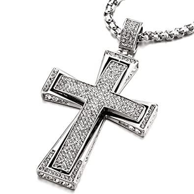 Mens Large Stainless Steel Cross Pendant Necklace with Cubic Zirconia and 30 inches Wheat Chain 87wFQ