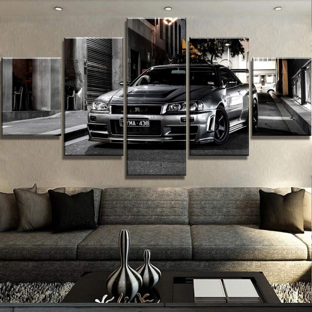 XLST 5 Piezas HD Print Coche Nissan Skyline GTR Grande Decorativos Modernos Pinturas en Lona Mural para casa Decoraciones de Pared Decoraci/ón