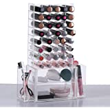 Ikee Design All in 1 Clear Premium Acrylic Lipstick & Makeup Brush & Cosmetic Organizer Unit With Removable Side Compartment