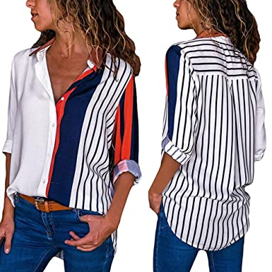 Teresamoon Womens Casual Loose Cuffed Sleeve T-Shirt Blouses Tops