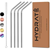 HYDRATE Stainless Steel Straws - Reusable, Eco Friendly - BPA Free Metal Straw - Many Colour Options