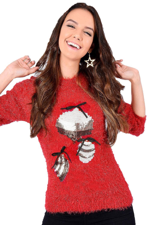 Christmas Wishes DONNA NUOVO DI MARCA Maglioncino Natalizio morbido CIGLIA maglia felpe