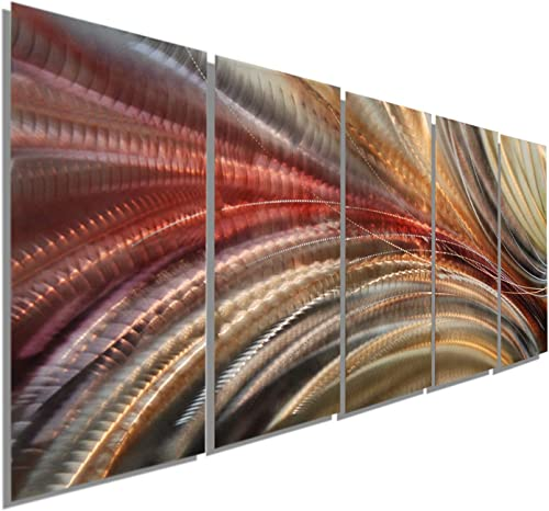 Statements2000 Abstract Autumn Painted Earthtones Large 3D Metal Wall Art Panels Hanging Sculpture by Jon Allen, Red Gold Brown, 64 x 24 – Cosmic Significance