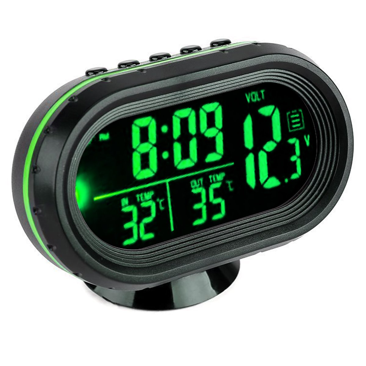VICKMALL Car Thermometer LCD Clock Portable Digital Small Temperature Time Celsius Air (Green)