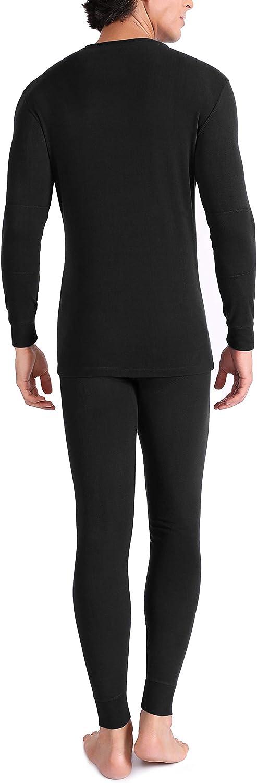 Genuwin Mens Ultra Soft Winter Warm Base Layer Top /& Bottom Fleece Lined Thermal Set Long John