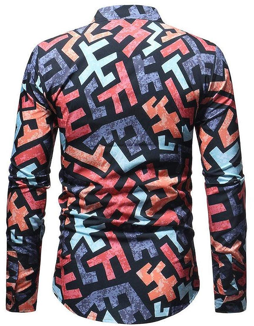 Pcutrone Men Autumn Lapel Neck Long Sleeve Print Button Down Shirts