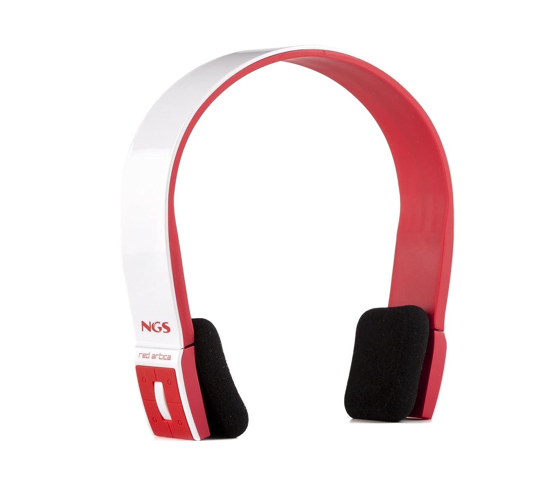 NGS Red Artica - Auriculares de diadema abiertos Bluetooth (con micrófono, control remoto integrado), multicolor (blanco y rojo): Amazon.es: Electrónica