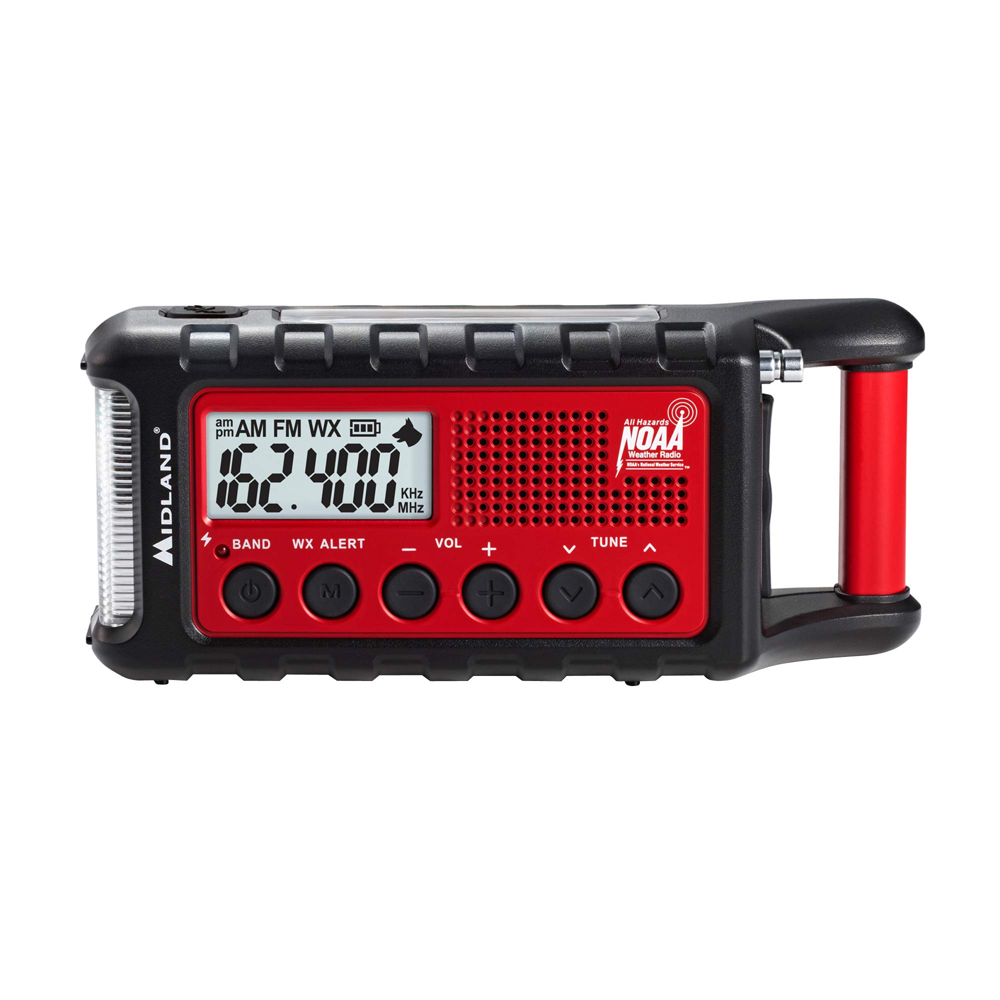 Midland - ER310, Emergency Crank Weather AM/FM Radio - Multiple Power Sources, SOS Emergency Flashlight, Ultrasonic Dog Whistle, NOAA Weather Scan + Alert (Red/Black)