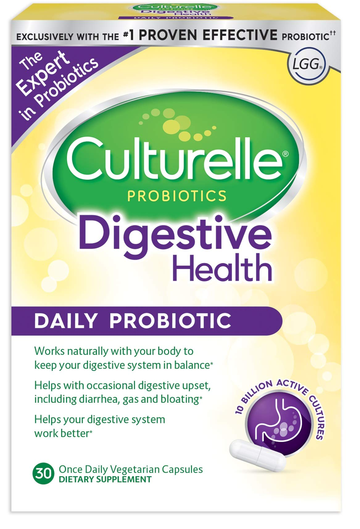 Culturelle Daily Probiotic, 30 count Digestive Health Capsules | Works Naturally with Your Body to Keep Digestive System in Balance* | With the #1 Proven Effective Probiotic