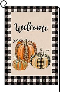 Buffalo Check Fall Pumpkin Thanksgiving Garden Flag Vertical Double Sided Farmhouse Autumn Burlap Yard Outdoor Decor 12.5 x 18 Inches (132600)