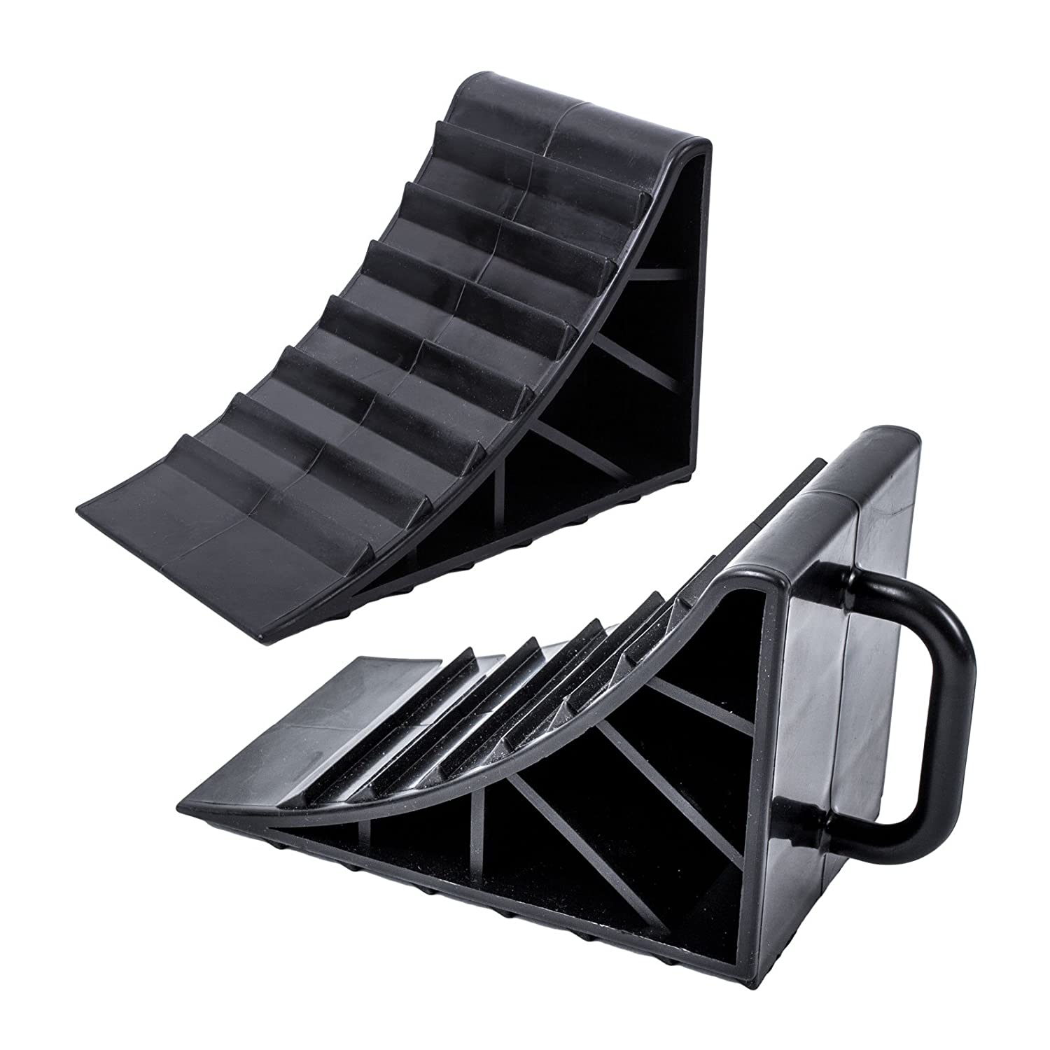 ProPlus plastic chock, black, set of 2 with handle for caravan, motor home and trailer. Pro Plus 123656