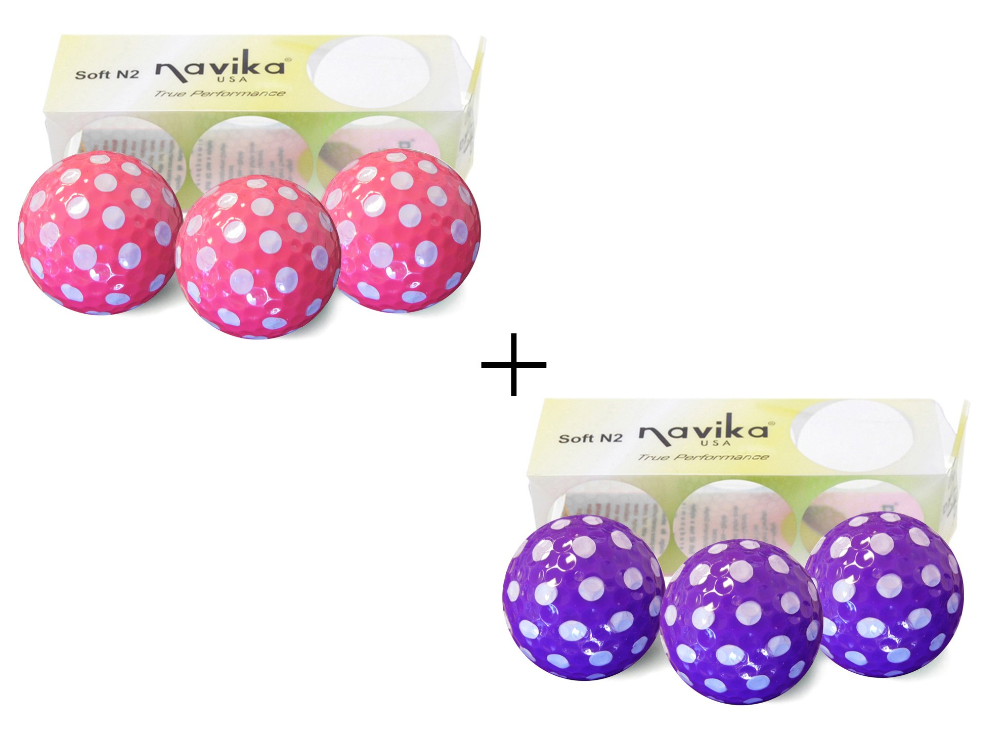 Golf Balls Purple AND Pink Polka Dot (Sleeve of 3)- 2 PACK by Navika (Image #1)