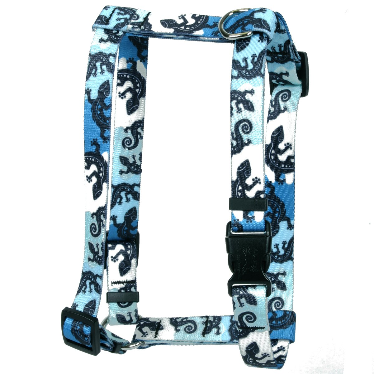 Extra Large 28\ Yellow Dog Design Geckos Teal Roman Style H  Dog Harness, X-Large 1  Wide