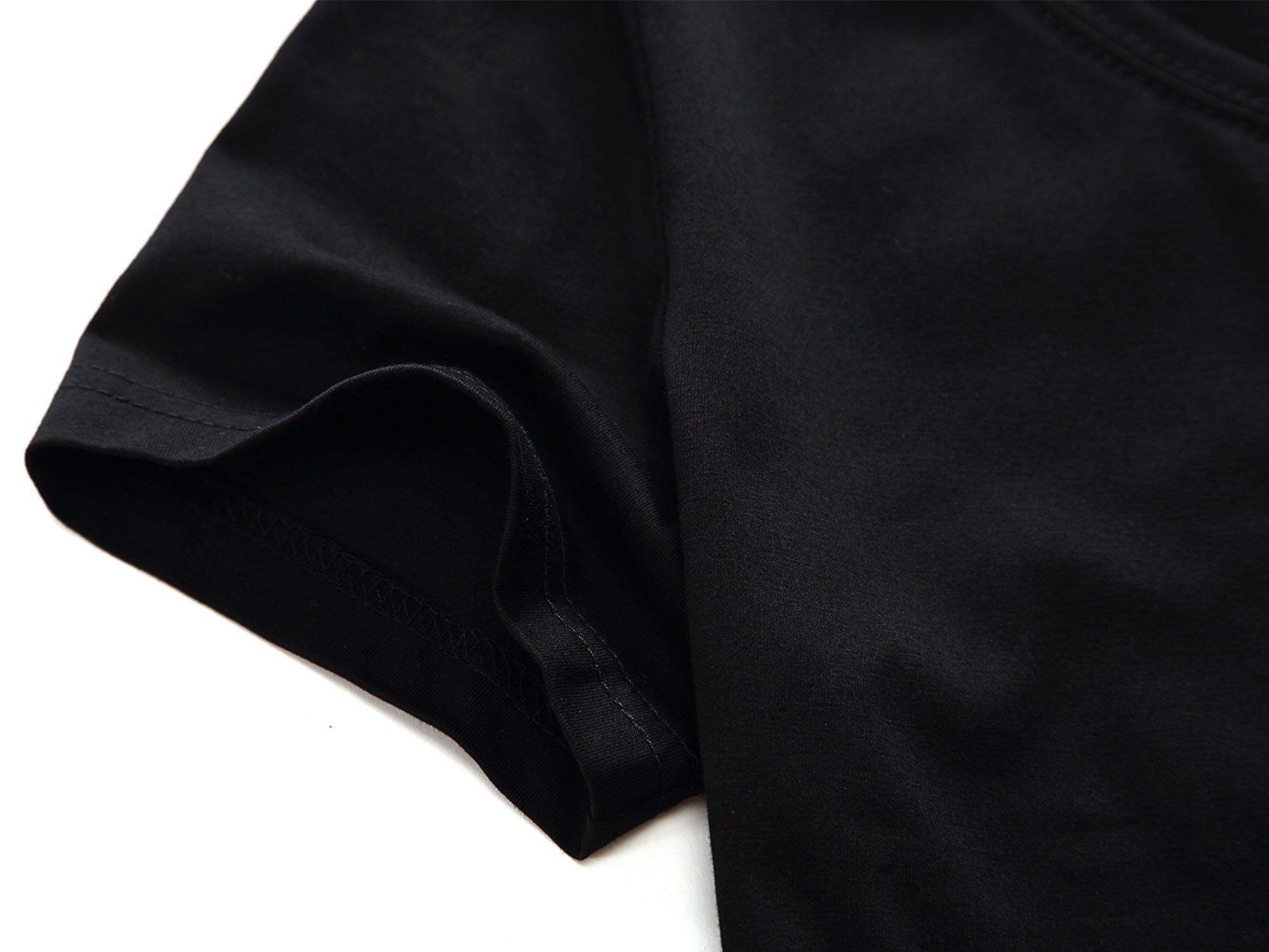 HUHOT Women Short Sleeve Round Neck Summer Casual Flared Midi Dress Large Black by HUHOT (Image #4)