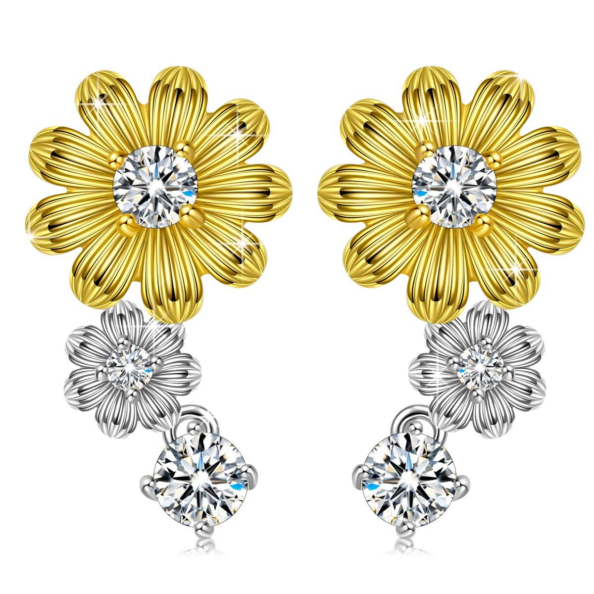 Women Jewelry Anniversary Gift for Her Birthday Gift for Wife Sunflower Stud Earrings for Women Sterling Silver No Sensitive Earrings for Sister Daughter