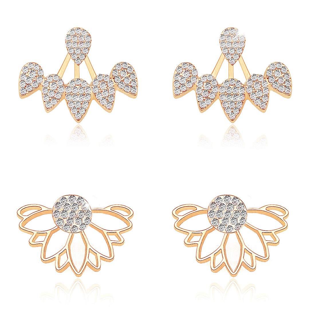 3c4d01b67fdaf Gleamart Hollow Lotus Flower Earrings Water Drop Ear Jacket Chic Stud  Earrings Set