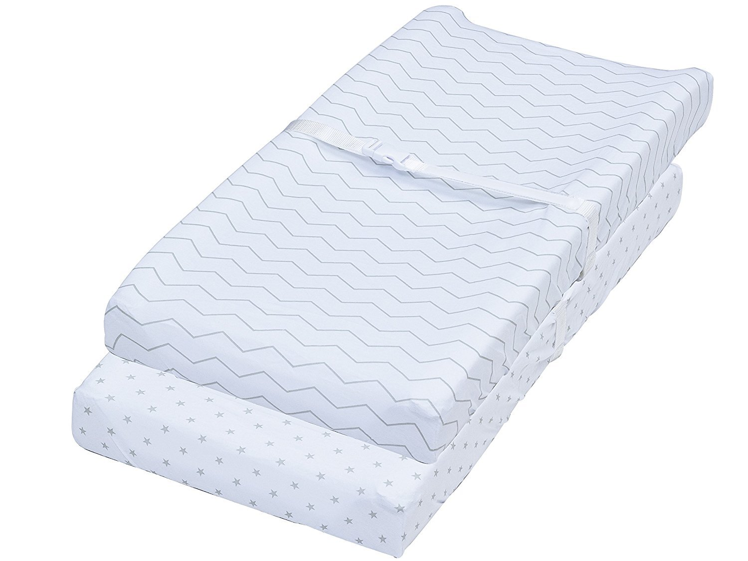 Leakproof Changing Pad Covers, 2 Pack Chevron & Stars Fitted Soft Cotton Sheets
