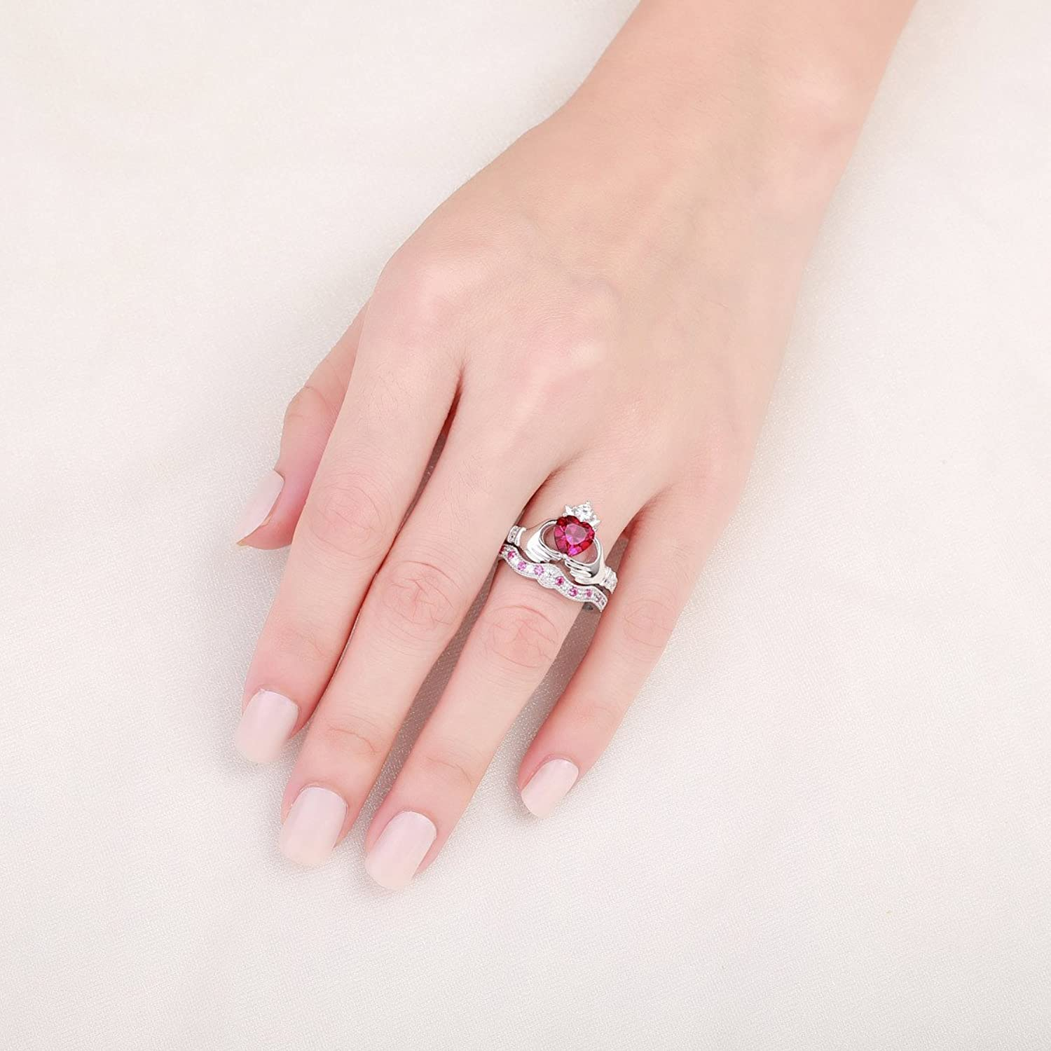 Amazon.com: Caperci Sterling Silver Heart-Shaped Simulated Ruby ...
