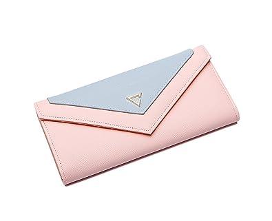 cb51af9d76ff ZKLIFE レディース レザー カードケース 封筒 二つ折り 長財布 通勤 バックル ウォレット (ピンク)