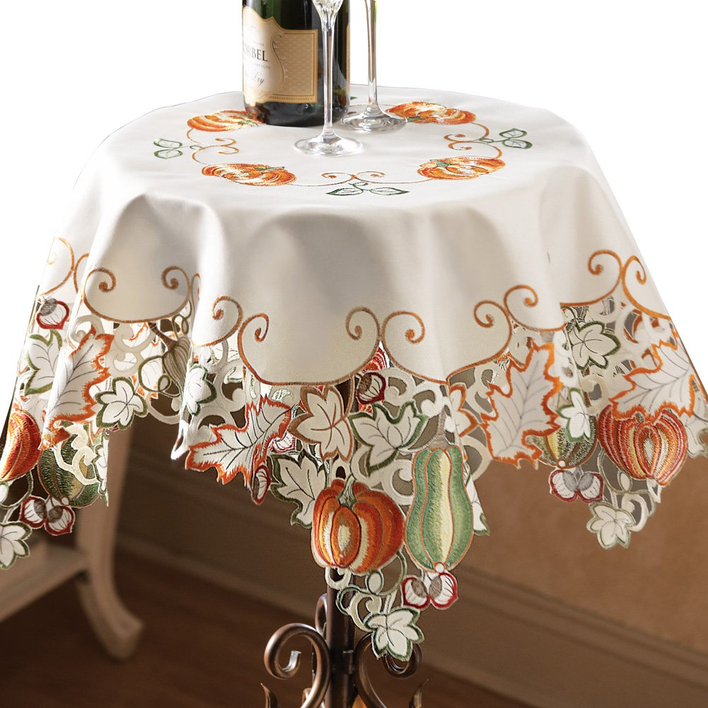 Die-Cut Autumn Harvest Decorative Table Linens with Scalloped Edges - Accents of Pumpkins, Autumn Leaves, Acorns and Gourds by Collections Etc