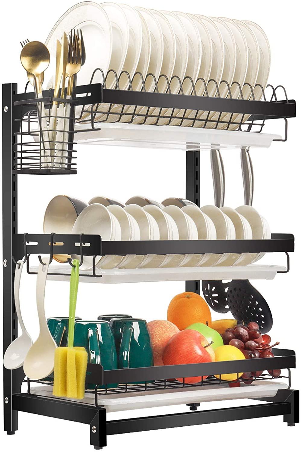 X Cosrack Dish Drying Rack Stainless Steel Dish Drainer With Drainboard Utensil Holder For Plates Bowls Cups For Kitchen Countertop Detachable 3 Tier Black Patent Pending