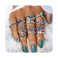 Cyntan Fashion Rings Set Boho Knuckle Stackable Rings Set For Women Girls