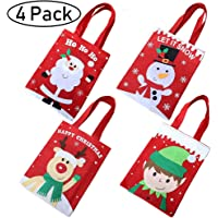 4 Pack Christmas Tote Gift Bags,Reusable Christmas Candy Bag Santa Claus Elf Snowmen Reindeer Embroidered Bag with Handle Portable Candy Gift Baskets Gift Wrap for Christmas Party Favors