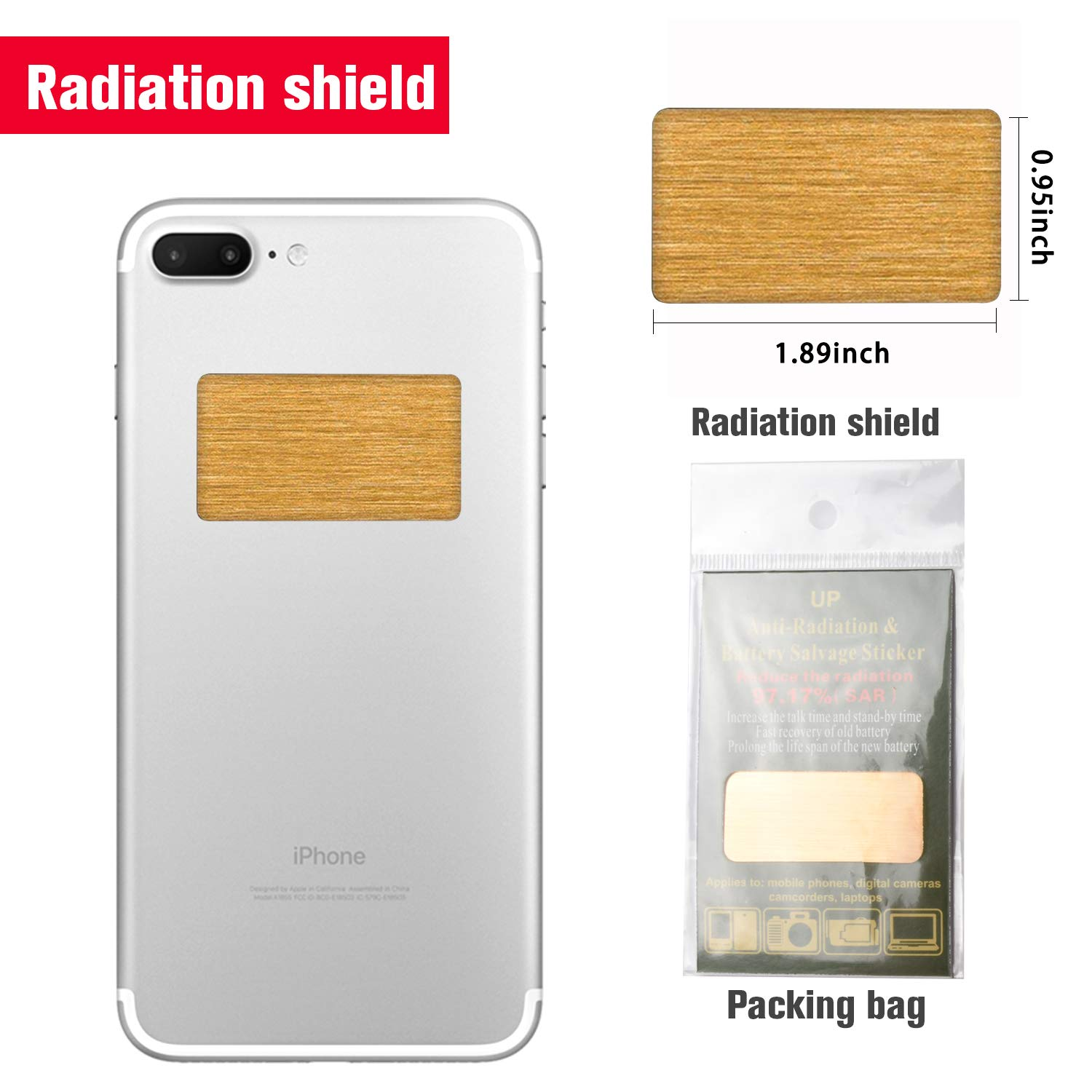 2 Pack - EMF Protection Cell Phone Anti Radiation Protector Sticker, Negative Ions EMF Blocker for Mobile Phones,Laptop and All Electronic Devices