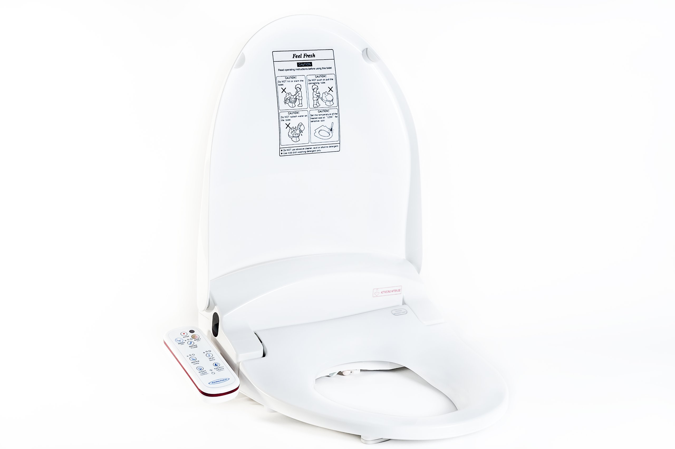 Feel Fresh HI-7001WT Elongated Electric Bidet Seat with Duo Mount Wireless Remote Control and Warm Air Dryer White