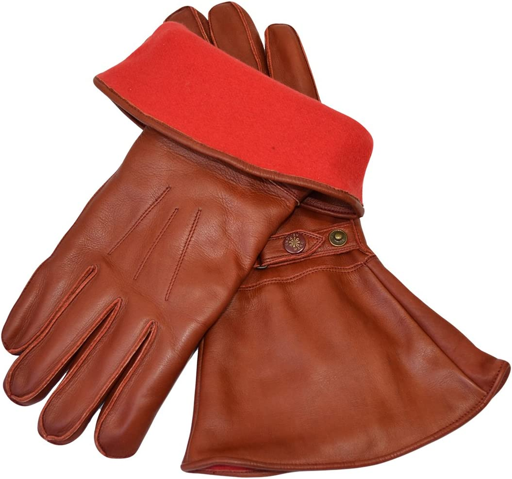 Aviator//Aviation//Dispatch Despatch Rider Driving Style Vintage 1960s 1970s Long Sleeve Over the Cuff Gloves 2 Colours! GOLDTOP Mens Classic Fleece Lined Leather Motorcycle Gauntlets