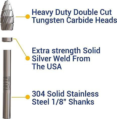 Cylindrical 1//4 Size 5//8 Length of Cut Double Cut 1//4 Shank Diameter 1//4 Diameter Titan TB19324 Solid Carbide Bur SA-1 2 Overall Length