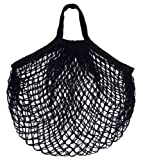 CHIC*MALL Mesh Bag Organic Cotton String Shopping Tote Net Woven Re-usable Bag (Black)