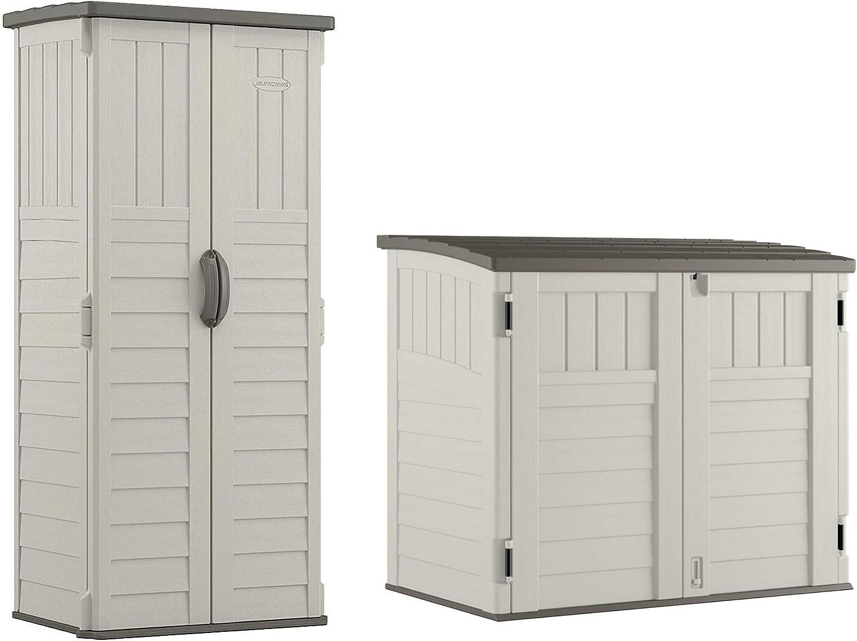Suncast Resin Versatile Vertical Storage Shed Building & Horizontal Storage Shed