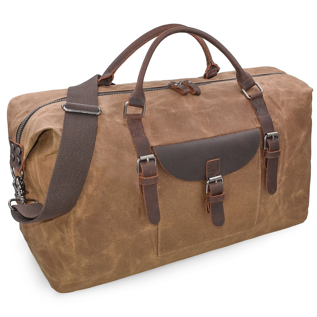 01dbfbb1e821 Mens Travel Holdall Duffle Bag Leather Weekend Overnight Bag Waterproof  Large Canvas Holdall Vintage Totes Women Brown  Amazon.co.uk  Luggage