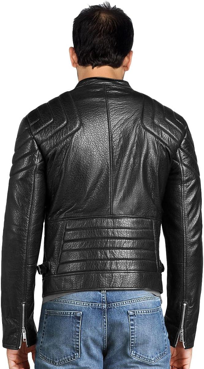 Kingdom Leather Mens Leather Jacket Slim Fit Biker Motorcycle Genuine Lambskin Jacket Coat X1495