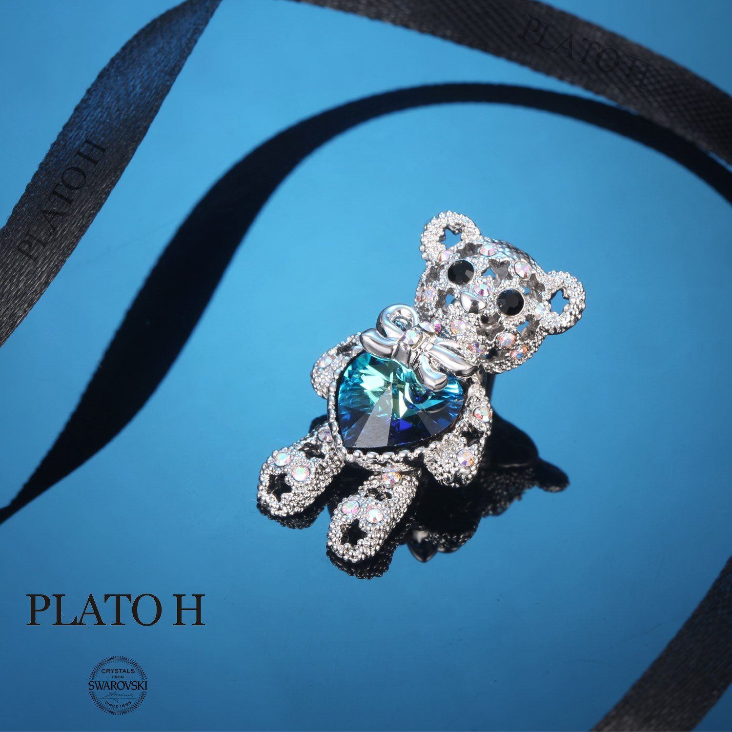 PLATO H Cute Animal Brooch Lovely Bear Heart Brooch & Pins with Swarovski Crystals, Fashion Jewelry Gift for Women,, Blue Crystal Bear Brooch by PLATO H (Image #4)