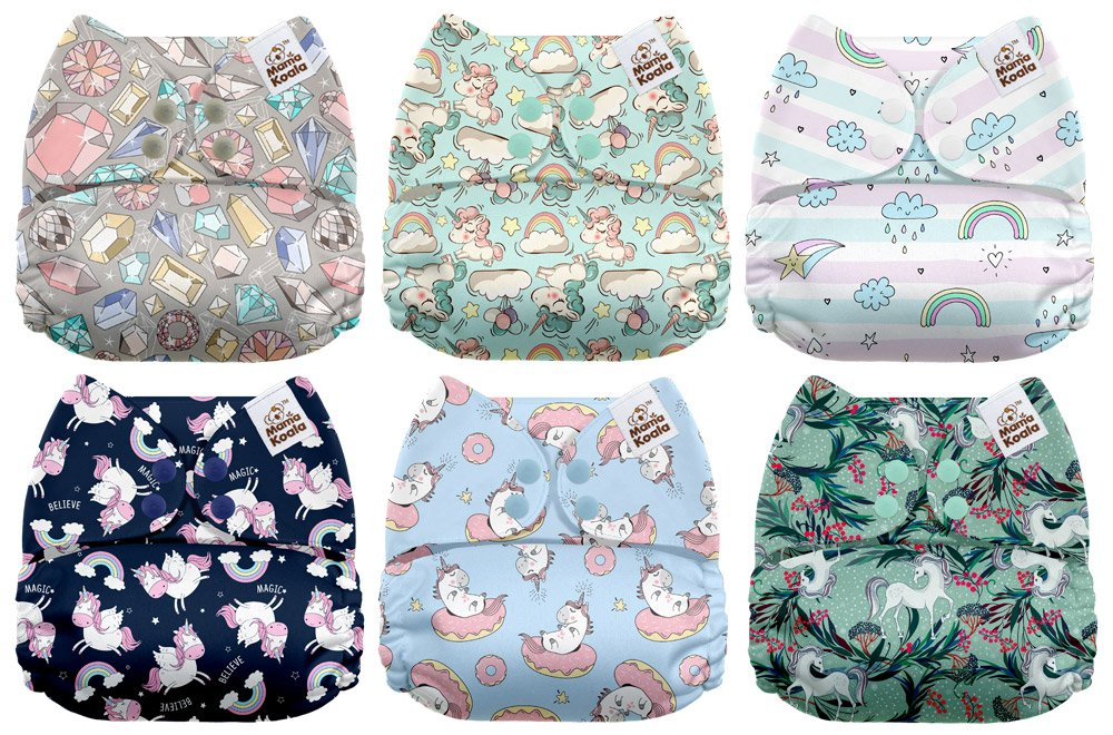 Mama Koala One Size Baby Washable Reusable Pocket Cloth Diapers, 6 Pack with 6 One Size Microfiber Inserts (Game Time)