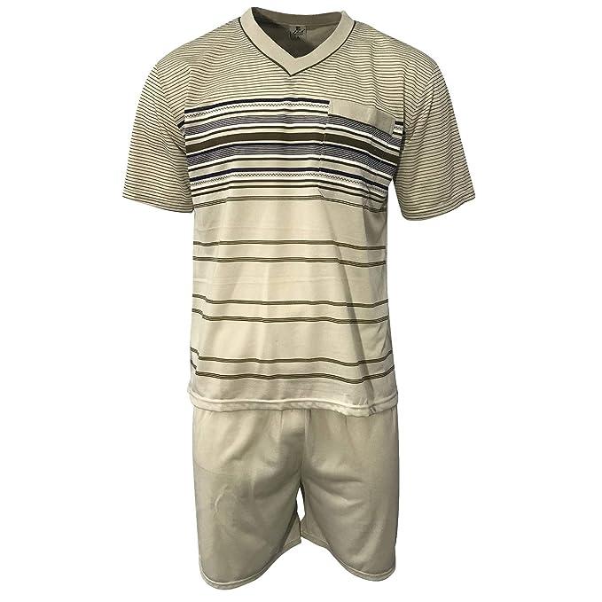 online store dc6ad a3536 Lavazio Herren Schlafanzug kurz Shorty T-Shirt Bedruckt Hose Uni Qualität