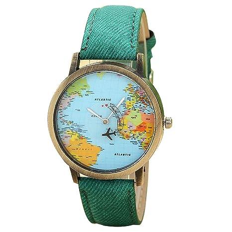 """Webla Mujer """"Viaja por el mundo"""" World Map Denim tela reloj de pulsera"""