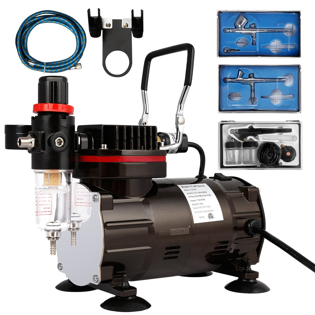 VIVOHOME 110-120V Professional Airbrushing Paint System with 1/5 HP Air Compressor and 3 Airbrush Kits ETL Certified by VIVOHOME
