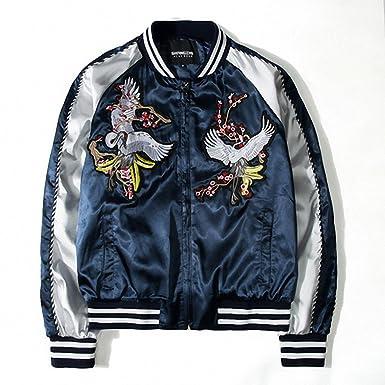 a2da98c1b Amazon.com: Men retro floral embroidery bomber jacket ma1 pilot ...