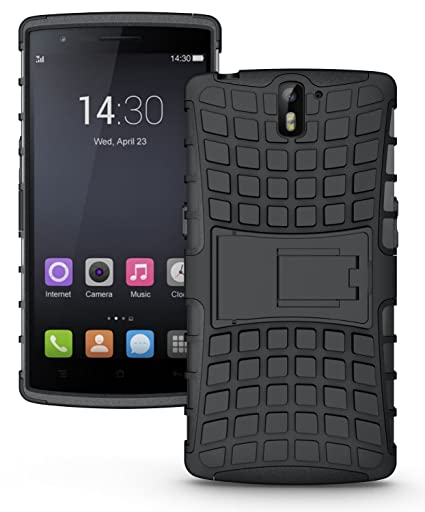 super popular 7640b fe870 DEFENDER Hard Armor Hybrid Rubber Bumper Flip Stand Rugged Back Case Cover  for OnePlus One - Black
