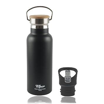 Telper® - Botella acero inoxidable con tapa de bambú, sin BPA, doble